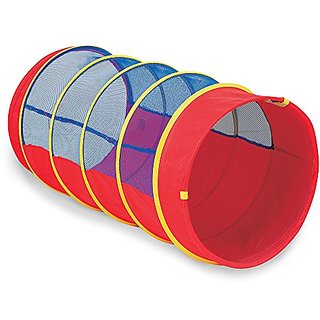 Pacific Play Tents Kids 4 Foot Institutional See Thru Padded Tunnel w Connecting Lip - Red Blue