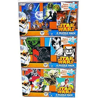 12 Star Wars Puzzles for Kids Ages 6+ 100 Pieces Bundle of 3 - 4 Puzzle Packs 5