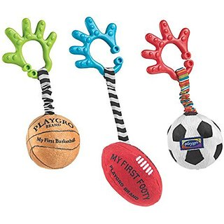 Clip easily attaches to prams, strollers or in the car-Rattle for auditory stimulation-3 different sporting balls in on