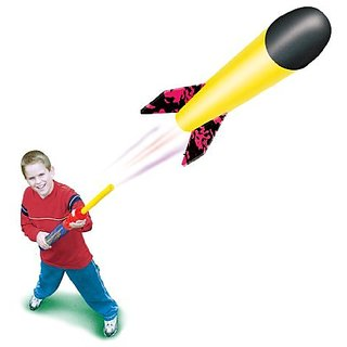 Geospace Pump Rocket MINI Set - Launcher & Foam Flying Rocket, Assorted Colors