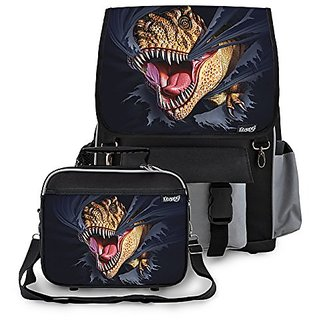 Kidaroo Tearing T-Rex Dinosaur Backpack & Lunchbox for Boys, Girls, Kids (BLACK)