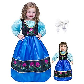 Little Adventure Scandinavian Princess Dress Age 5-7 with Matching Doll Dress & Hair Bow
