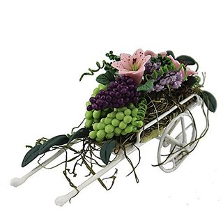 Generic Flower Beautiful Fruits Flowers Cart for 1 12 Scale Dollhouse Furniture