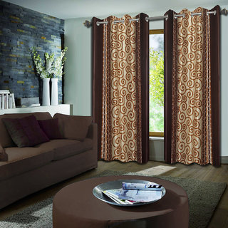 Premium Quality Fabric Fancy & Designer  2 Piece Set of Eyelet Polyester Decorative Long Door Curtain by ODHNA BICHONA -9Ft,Coffee OB-067_9ft