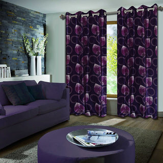 Premium Quality Fabric Fancy & Designer  2 Piece Set of Eyelet Polyester Decorative Door Curtain by ODHNA BICHONA -7Ft,Purple OB-070_7ft