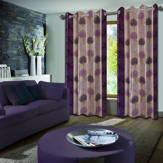 Premium Quality Fabric Fancy & Designer  2 Piece Set of Eyelet Polyester Decorative Window Curtain by ODHNA BICHONA -5Ft,Purple OB-071_5ft