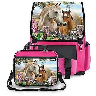 Kidaroo High Quality School Backpack & Lunchbox for Girls, Boys, Kids With Summer Meadow Horses Interchangeable Flaps (P