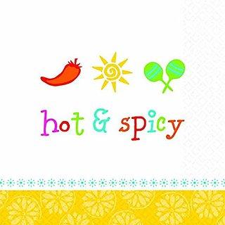 Amscan Festive Cinco De Mayo Party Hot & Spicy Beverage Napkins (16 Pack), Multi Color, 5 x 5