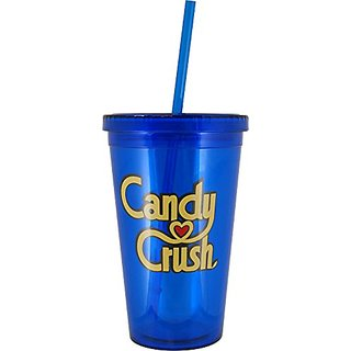 Candy Crush 16-Ounce BPA-Free Double-Wall Tumbler with Straw, Blue
