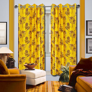Premium Quality Fabric Fancy & Designer  2 Piece Set of Eyelet Polyester Decorative Door Curtain by ODHNA BICHONA -7Ft,Yellow OB-163_7ft