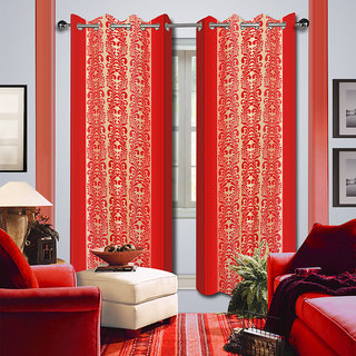 Premium Quality Fabric Fancy & Designer  2 Piece Set of Eyelet Polyester Decorative Long Door Curtain by ODHNA BICHONA -9Ft,Orange OB-177_9ft