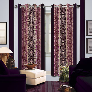 Premium Quality Fabric Fancy & Designer  2 Piece Set of Eyelet Polyester Decorative Window Curtain by ODHNA BICHONA -5Ft,Violet OB-178_5ft