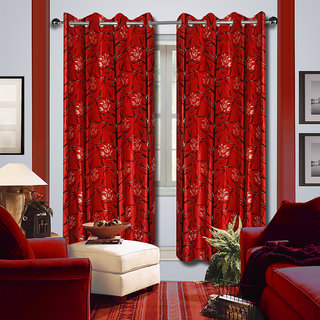 Premium Quality Fabric Fancy & Designer  2 Piece Set of Eyelet Polyester Decorative Door Curtain by ODHNA BICHONA -7Ft,Red OB-165_7ft