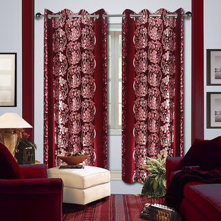 Premium Quality Fabric Fancy & Designer  2 Piece Set of Eyelet Polyester Decorative Window Curtain by ODHNA BICHONA -5Ft,Red OB-166_5ft