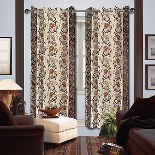 Premium Quality Fabric Fancy & Designer  2 Piece Set of Eyelet Polyester Decorative Long Door Curtain by ODHNA BICHONA -9Ft,Brown OB-179_9ft