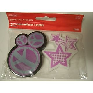 Staples Set of 2 Latex Free Patterned Erasers ~ Peace Signs & Stars (2.75