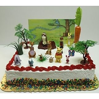 Winnie The Pooh 16 Piece Birthday Cake Topper Set Featuring 2