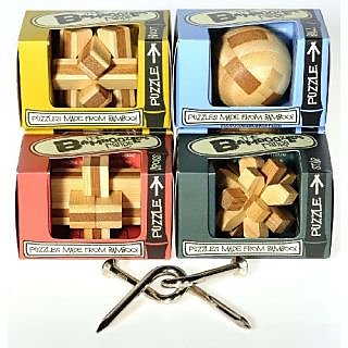 Mini Bamboozlers Wood Take-Apart Puzzles _ Bundle of 4 Unique Puzzles_Plus Bonus Bent Nails Puzzle