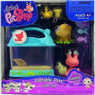 LITTLEST PET SHOP FUNNIEST PETS GIFT SET FEATURING SALMON COLOR HERMIT CRAB #929 AND YELLOW FROG #928 PLUS TANK AND BONU