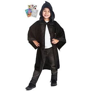 Little Adventures 31014 Black Wizard Hooded Cloak Age 5-9 with Coloring Book