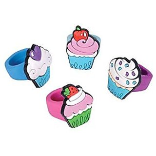Rhode Island Novelty 24 Piece Kids Rubber Cupcake Ring, Assorted