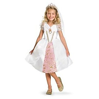 Disney Tangled Rapunzel Wedding Gown Costume, Gold White Pink, X-Small