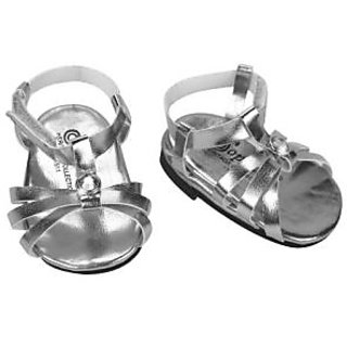 Silver Doll Sandals, Doll Shoes Fits 18 Inch American Girl Dolls, by Sophias, Doll Silver Jeweled Strap Sandal