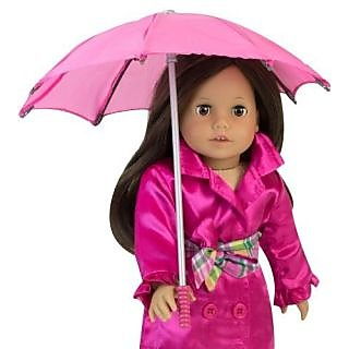 18 Inch Doll Hot Pink Umbrella, Handle Loop, Open & Closes Perfect for 18 Inch American Girl Dolls & More!