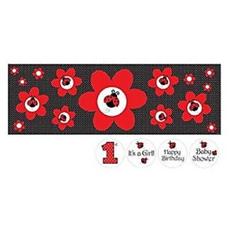 Ladybug themed giant party banner-65-inch long x 20-inch tall-Customize with included stickers-Perfect supplies for a c