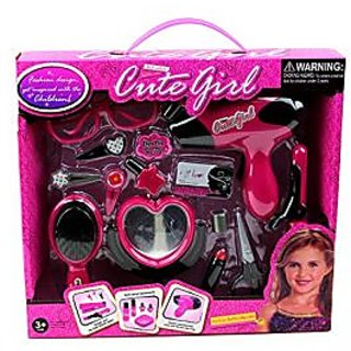 World King Toys Pretend Play Fashion Battery Operated Beauty Set Toy with Hairbrush, Hairdryer, Mirror, and Accessories