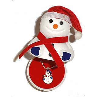 Snowman Pendant Necklace in Figural Velour Gift Box Fashion Novelty Jewelry