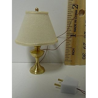 Dollhouse Miniature 1:12 Scale 12v Table Lamp, Tan Fabric Shade #WRT5