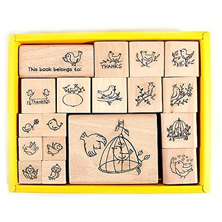 PPAPPAPPIYO Bird Set Rubber Stamp (18Pcs)