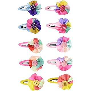 Wrapables Set of 5 Rainbow Ribbon Flower Hair Clips for Toddler Girl