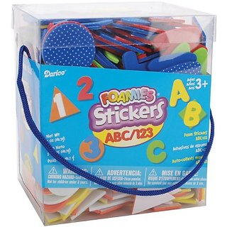 Foamies bucket of stickers-Contain ABC and 123 themed stickers of assorted color-Perfect for party crafts, scouts, clas