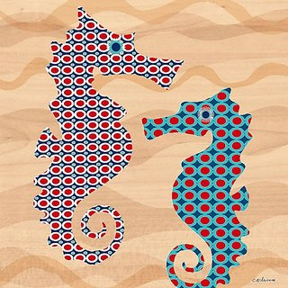 Oopsy Daisy Geo Seahorses Stretched Canvas Wall Art by Maria Carluccio, 18 by 18-Inch