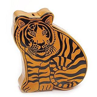 Leather Tiger Coin Bank Safari Animals