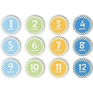 Includes 12 stickers for each month of babys first year-Easy to peel and stick on clothing-Stickers feature cute colorf