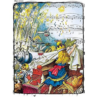 Beautiful 8x10 Inch Print of Alice and Fireworks, From Alice in Wonderland, a John Tenniel Illustration Overlaid on Shee
