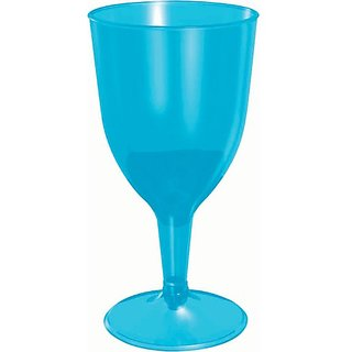 Blue Plastic 8oz Wine Glasses 20ct