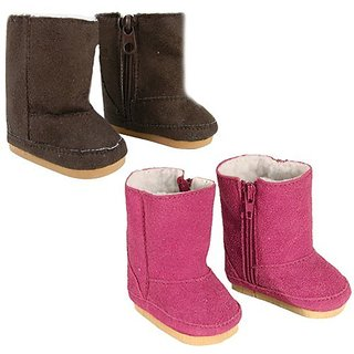 18 Inch Doll Boots 2 Pair Set, Our Faux Suede Ewe Boots will Fit American Girl Dolls & More! Doll Shoe Set of 1 Pair Hot