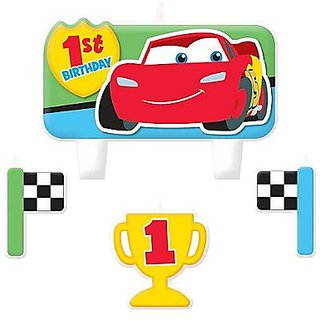 Cars 1st Birthday Molded Cake Candle Set (4ct)