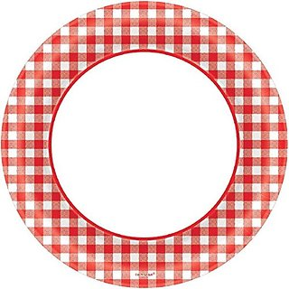 Amscan Disposable Diameter Round Plates in Classic Picnic Red Gingham Print, 8-1 2