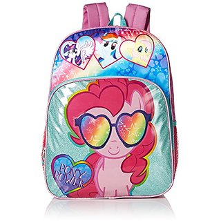 My Little Pony Girls Pinkie Pie Multi Compartment 16 inch Backpack, Pink