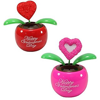 Lovers Gift Set of 2 ~ 1 Red Heart in Red Pot + 1 Pink Heart in Pink Pot Solar Toy Valentines Day Flowers Holiday Gift H