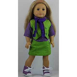 Purple, White & Green Skirt Outfit includes Hi-Top Sneakers and fits 18 inch American Girl Dolls.