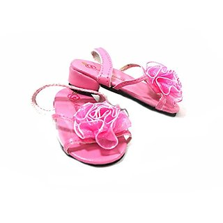 Arianna Pink High Kitten Heel Flower Sandal Fits American Girl 18 Inch Dolls