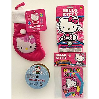 4-Piece Hello Kitty Stocking, Washable Tattoo and Gift Card Bundle for Christmas or Hanukkah