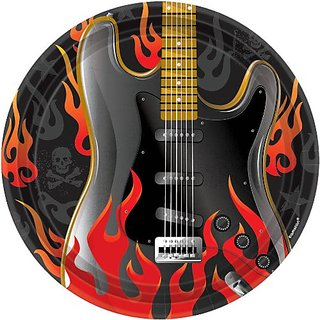 Amscan Rock On Heavy Metal Party Plates (8 Piece), Multi Color, 7 x 7