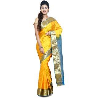 Sudarshan Silks Yellow Art Silk Plain Saree With Blouse
